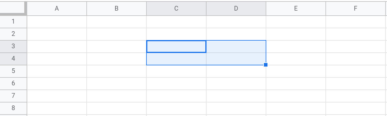 Screenshot of a Google Sheets spreadsheet showing the range C3:D4 selected.