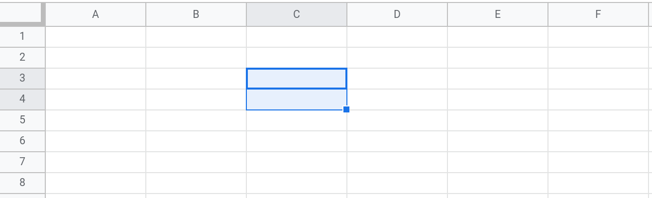 Screenshot of a Google Sheets spreadsheet showing the range C3:C4 selected.