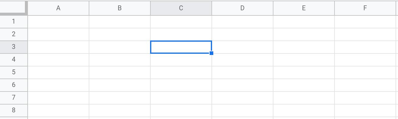 Screenshot of a Google Sheets spreadsheet showing the range C3 selected.