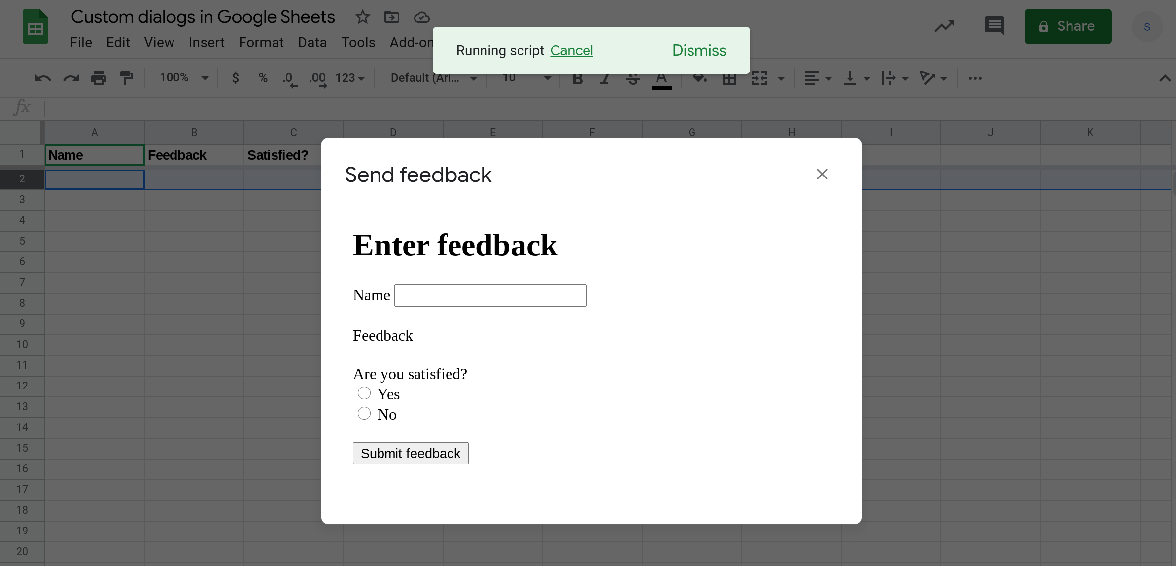 A screenshot of a custom data entry form in a custom dialog in Google Sheets.