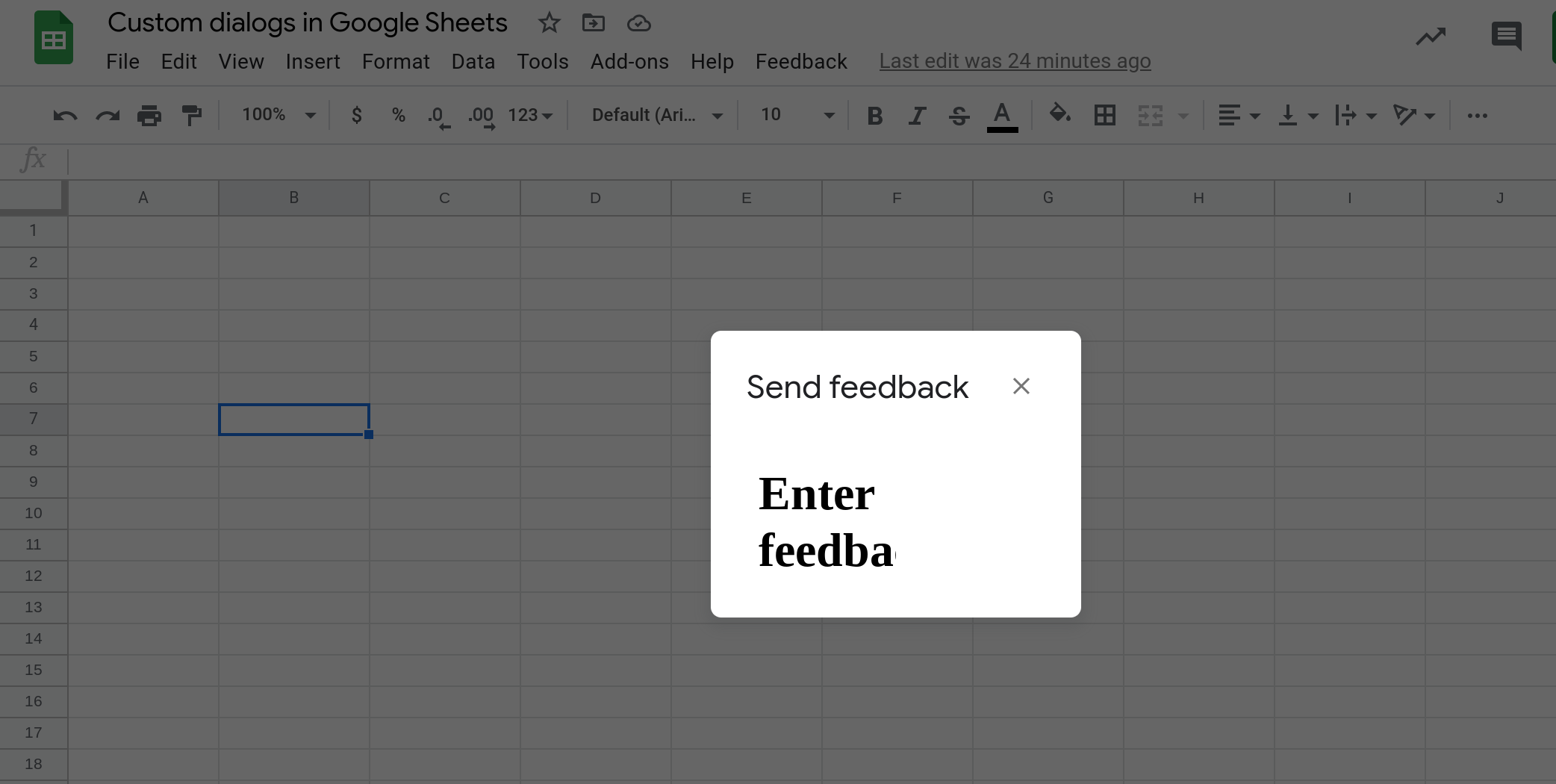 Screenshot of a custom dialog in Google Sheets that is 100 pixels wide and 100 pixels high.
