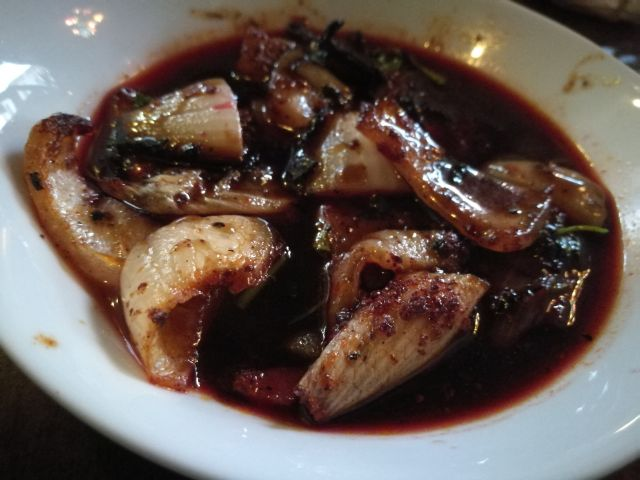 Caramelized grilled onion and pomegranate sauce