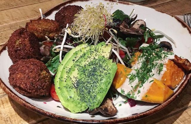 Greens with falafels and sweetpotato