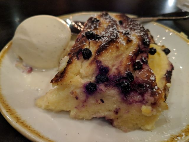 Warm vanilla bread pudding