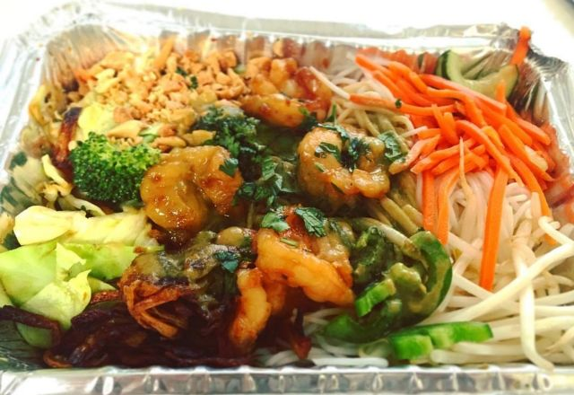 Asian box with rice noodles