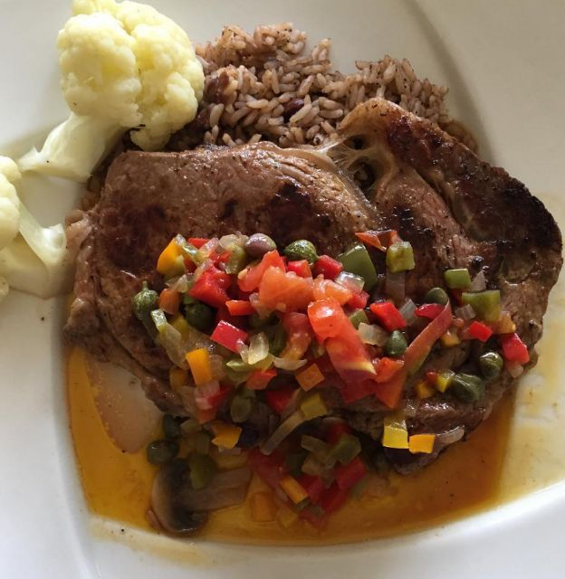 Steak with St. Christopher's sauce