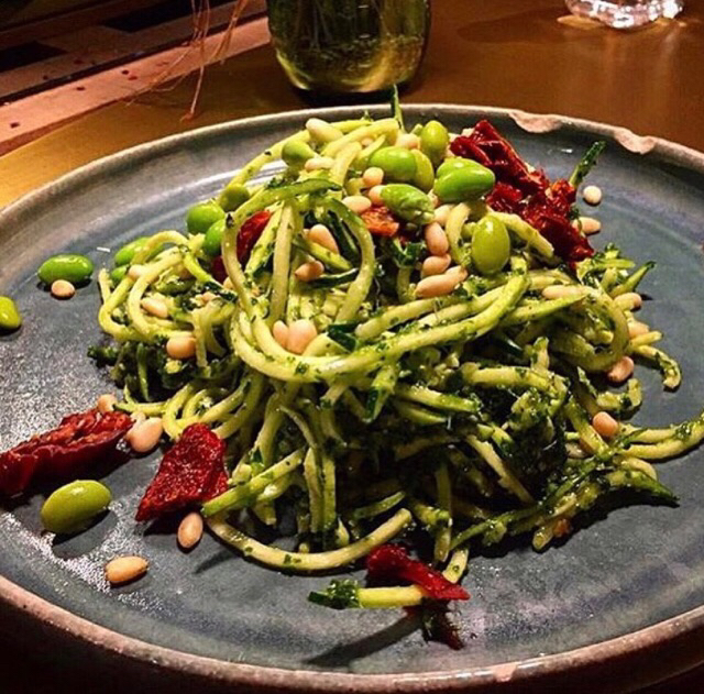 Raw Zuchinni Noodles Salad