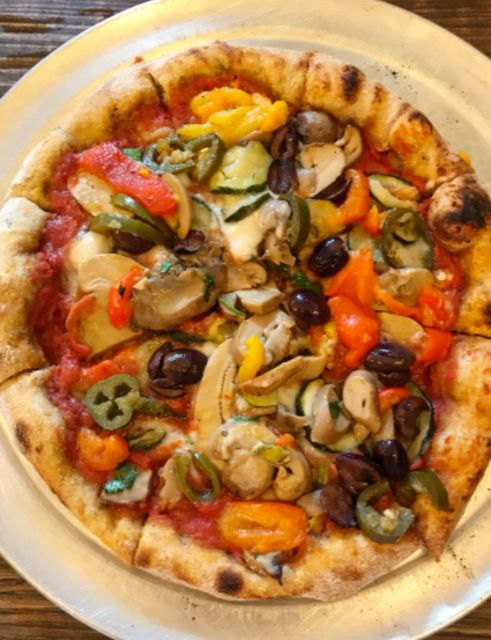 Mushroom, peppers, courgette, olives and jalapeños 🍕