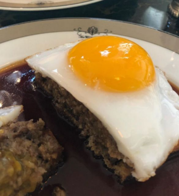 Salted beef hash with fried duck eggs