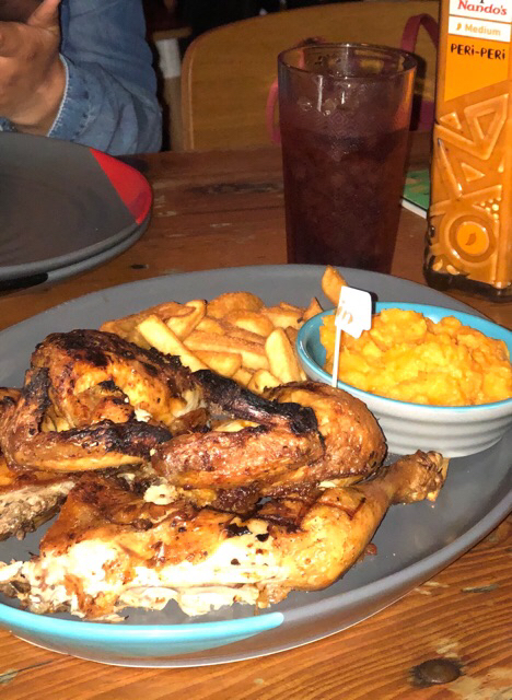 Meal Platter with chips and sweet potatoes mash