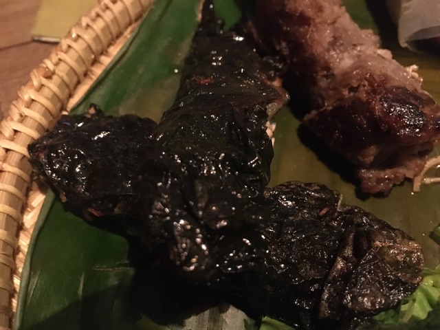 Deep fried pork wrapped in lolot leaves