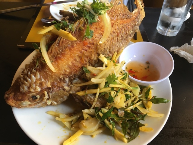 Deep fried whole red snapper