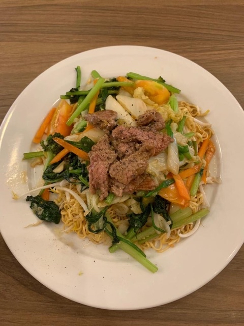 Stir fried beef with egg noodles