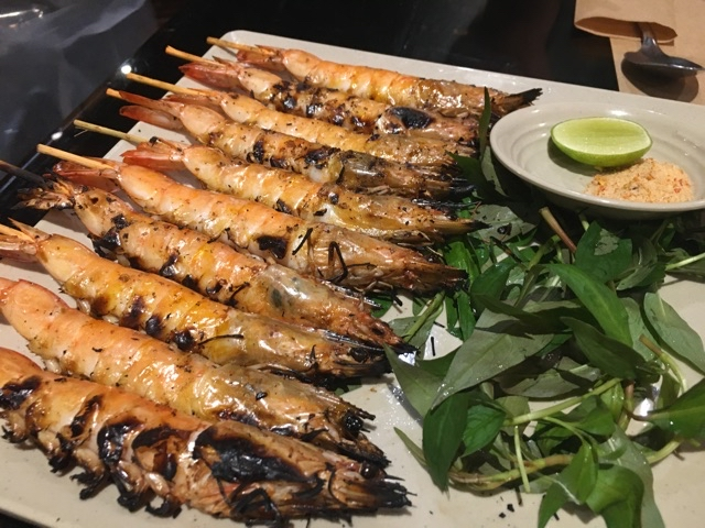 Grilled prawns with chili and salt