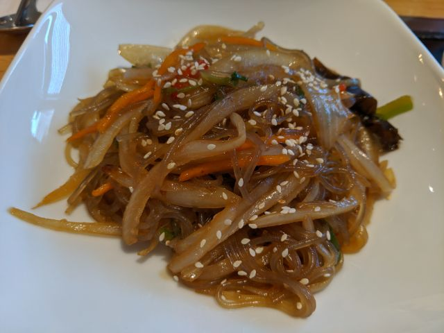 Stir fried glass noodle (Japchae)