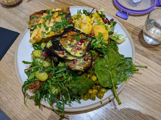 Chickpeas, cauliflower, fritatta, gnocchi and aubergine