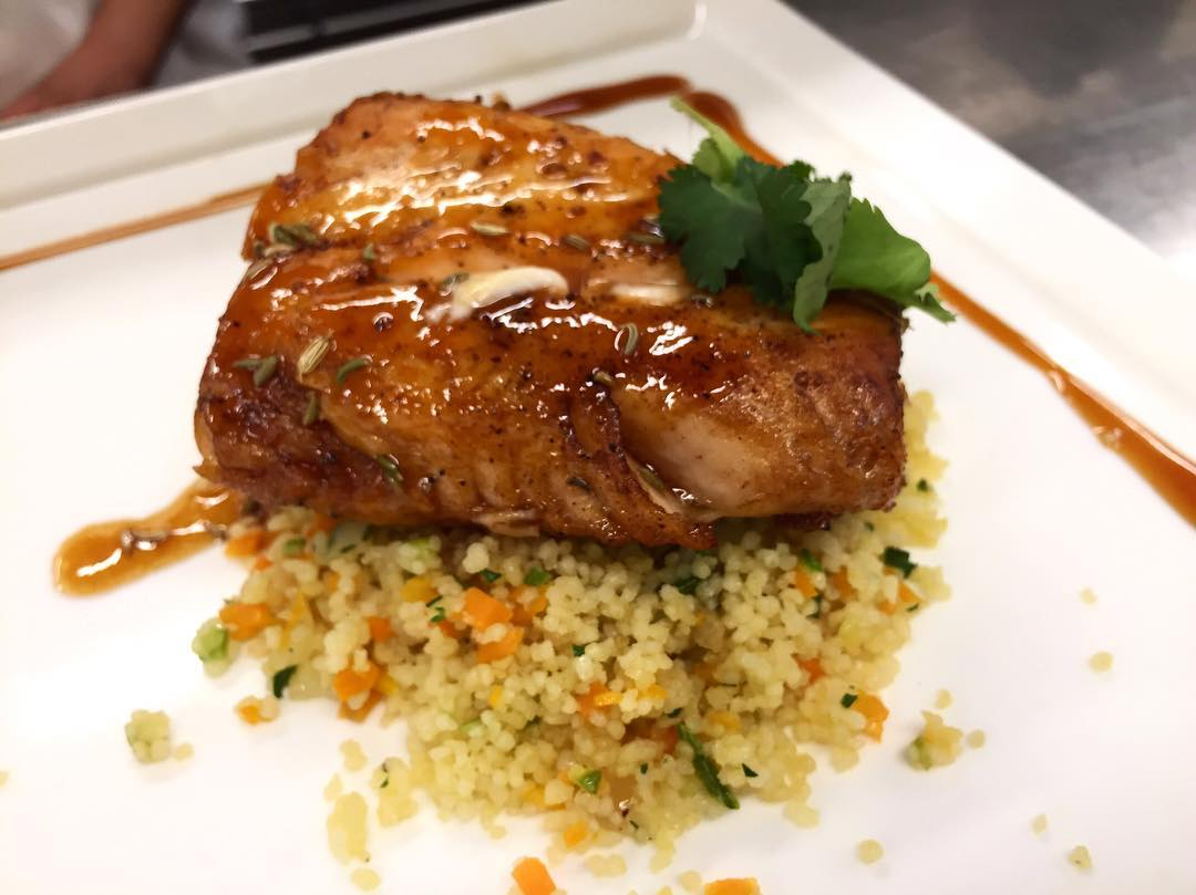 Seared Pacific salmon with Patrick's Moroccan barbeque sauce and vegetables couscous